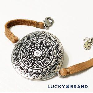 Lucky Brand Leather Silver Medallion Bracelet